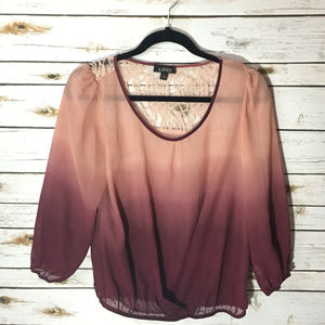 A. Byer Ombre Lace Sheer Top